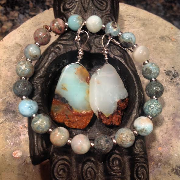 Image of The Balance of Water and Fire Atlantis and Dolphin Connection ~ Larimar Bracelet