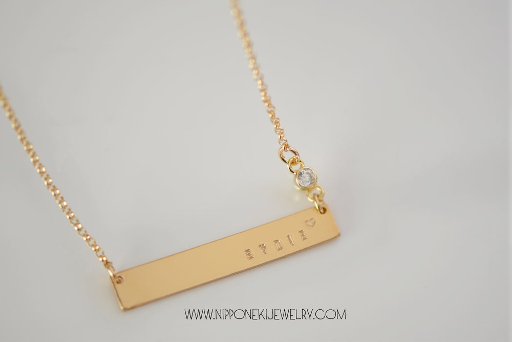 Image of Gold - Sterling Silver Bar Necklace with Cubic Zirconia - Heavy Bar Necklace -  Nameplate Necklace