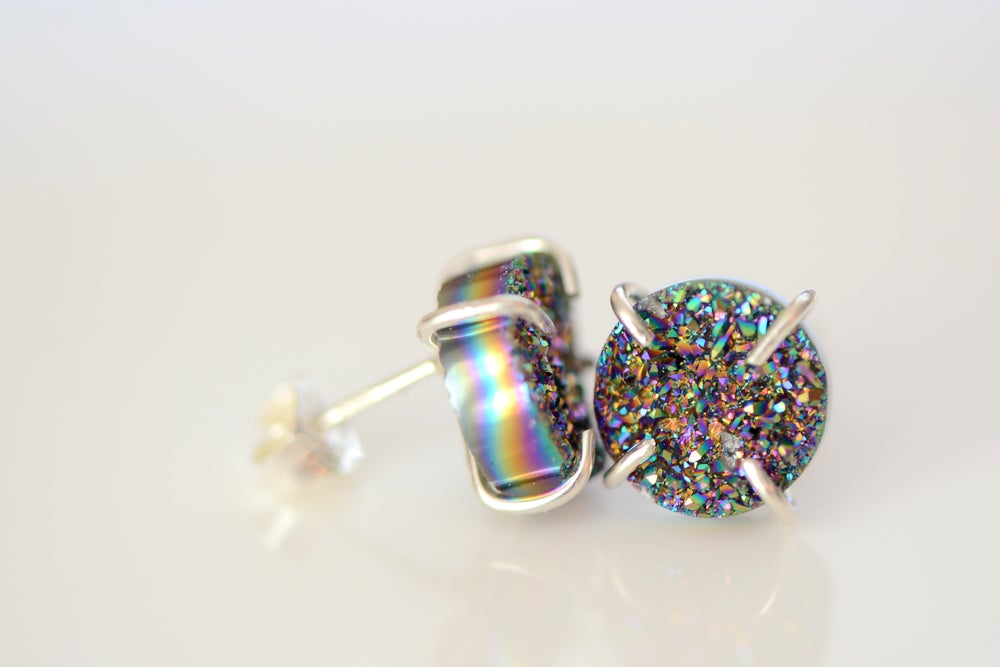 Image of Peacock Druzy EARRINGS IN STERLING SILVER CLAWS - TITANIUM COATED DRUZY - CLAW DRUZY EARRINGS