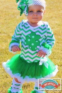 Image of St. Patrick's Day Baby Girl Tutu Onesie, Green Chevron Shamrock Ruffle Dress Onesie