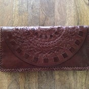 Image of Mandala Leather Clutch (Chocolate)