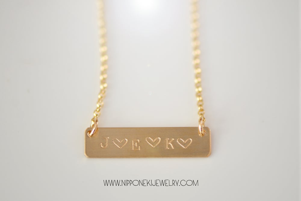 Image of Medium Gold or Sterling Silver Bar Necklace - Nameplate Necklace - Personalize Necklace