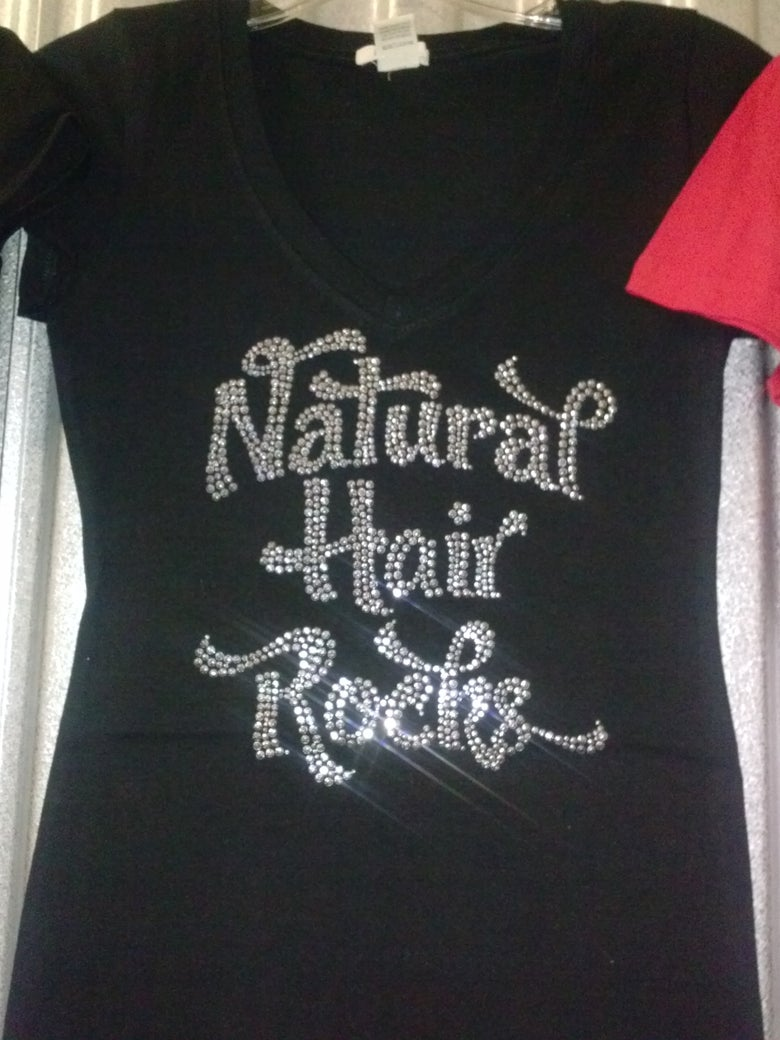 Image of natural  hair rhinestone t shirts
