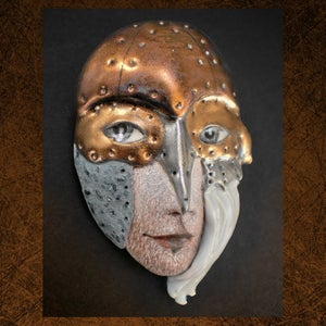 Image of Fight or Flight - Mask Sculpture, Porcelain Face Pendant, Art to Wear, Original Mask Art