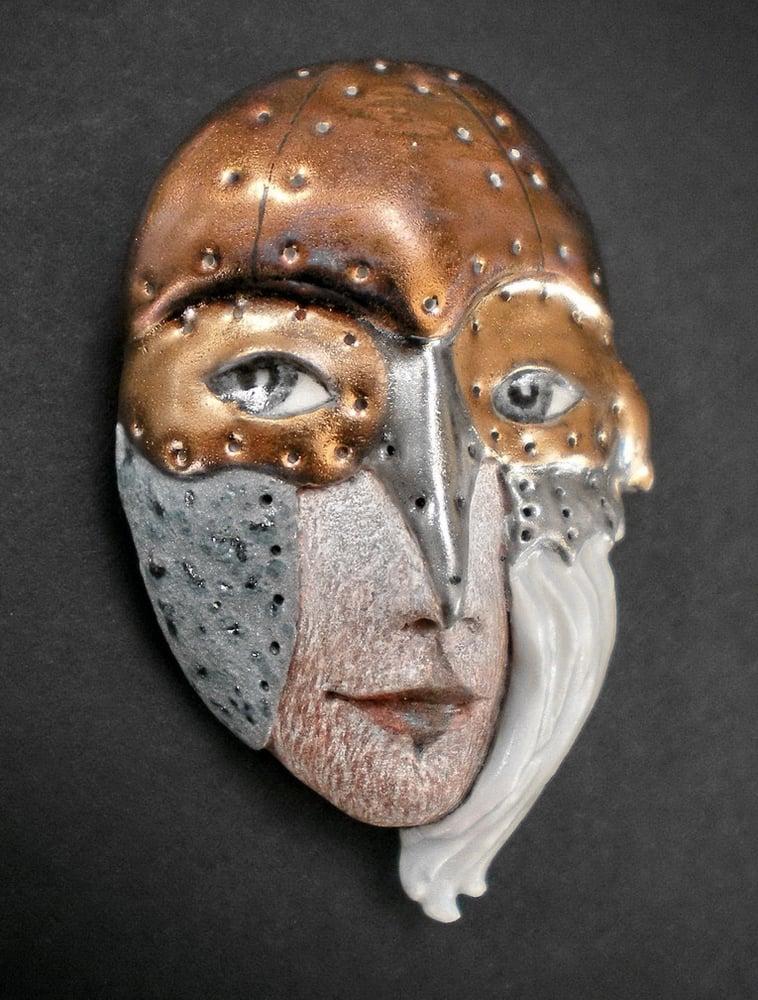 Image of Fight or Flight - Mask Sculpture, Porcelain Face Pendant, Art to Wear, Original Mask Art