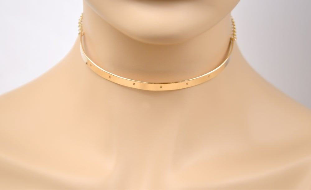 Image of XOXO Bar Choker Necklace - Choker Necklace - Sleek & Modern Choker Necklace