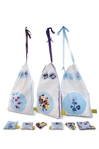 Image of Botanical Purple Pansies Laundry Bag with Ribbon