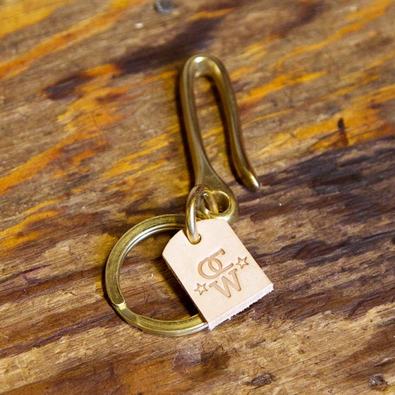 Image of Solid Brass Keychain Hook with Solid Brass Keyring