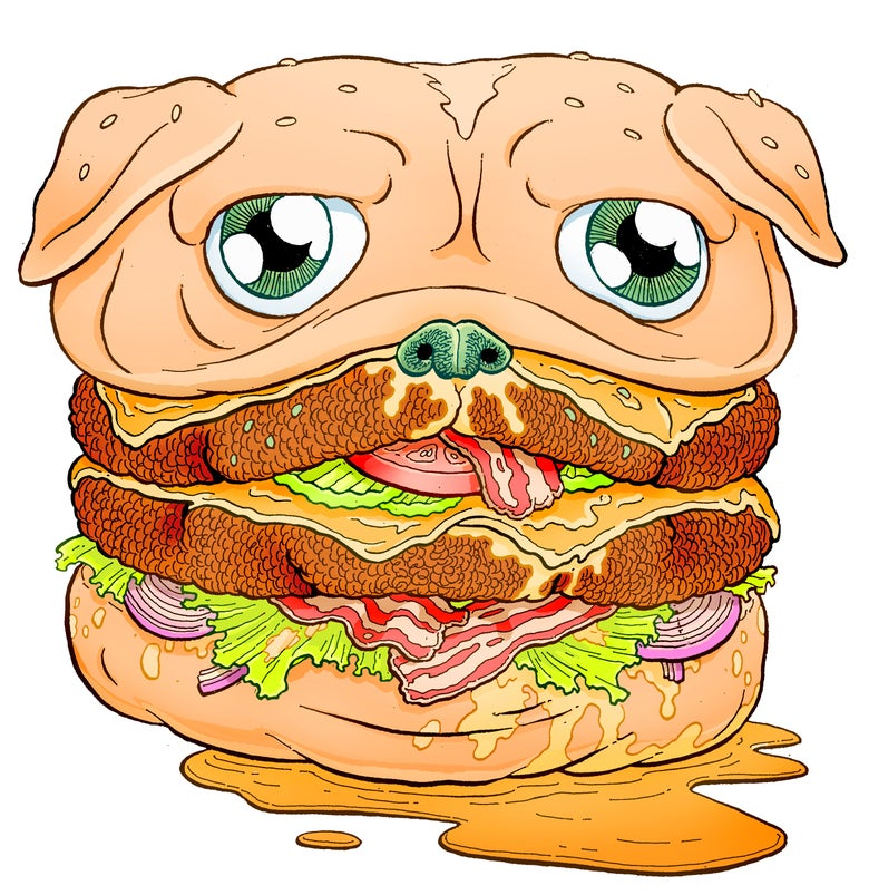Image of PUG BURGER STICKER