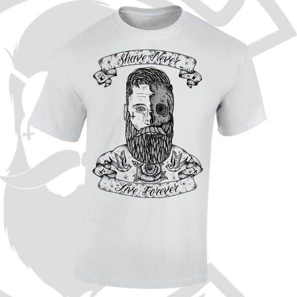 Image of Beard and Ink Shave Never Live Forever Front Logo Tee