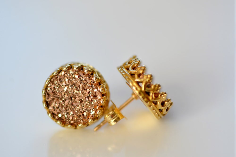 Image of Rose Gold Druzy Studs in Yellow Gold , Rose Gold Druzy Crown Bezel Studs , Glitter Earring Studs