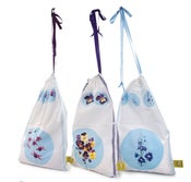 Botanical Purple Pansies Laundry Bag with Ribbon