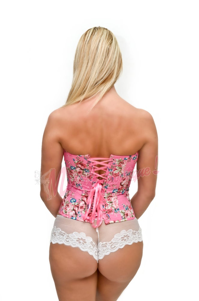 Image of Pretty pink floral corset