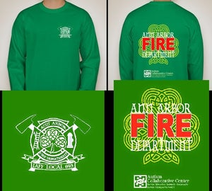 Image of Ann Arbor Firefighters - IAFF Local 693 - St. Pat's/Autism Awareness T-Shirt (White/Red on Green)