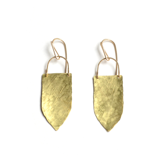Image of Brass Shield Earrings