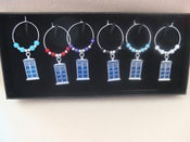 Image of Dr Who Tardis Wine Glass Charms - Set of 6 - Boxed