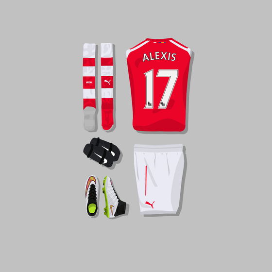 Image of Alexis Sanchez Kit Grid Canvas (30cm x 30cm)