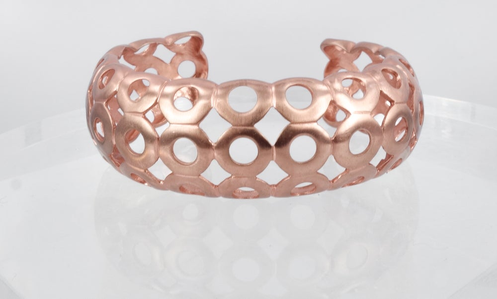 Image of Plated rose gold circular web cuff