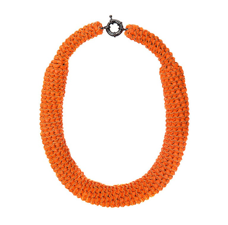 "Image of ""Sunburst"" Orange Oversized Leather Neckpiece - 50% OFF SALE"