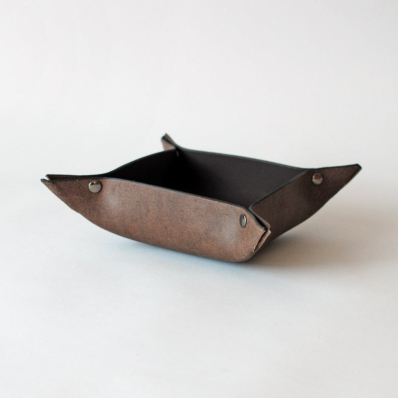 Image of Leather Hold-All Tray - Umber - Large