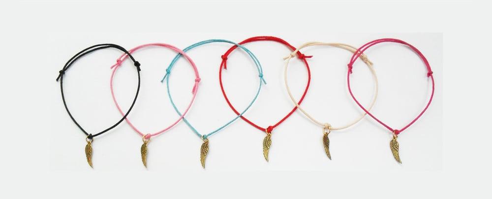 Image of Angel Wing Cord Charm Bracelet