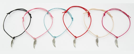 Image of Angel Wing Cord Charm Bracelet