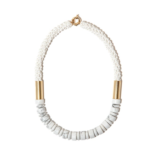 "Image of ""Delta"" White Howlite & White Leather Neckpiece"