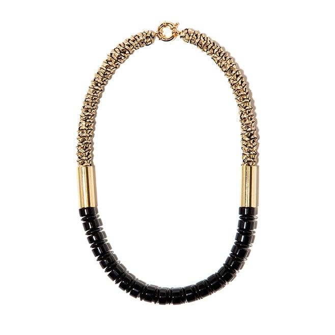 "Image of ""Delta"" Black Agate & Gold Leather Neckpiece"