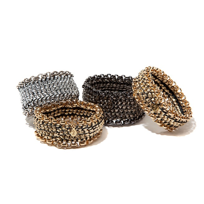 "Image of ""Circuit"" Woven Metallic Leather Bracelets"