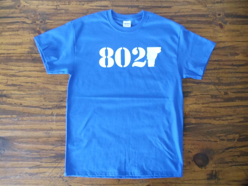Image of 802 Vermont Classic T-Shirt - White on Royal Blue T-Shirt - 802 zip code -802 vermont clothing