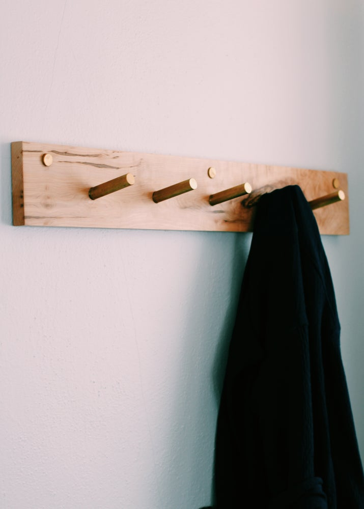 Image of Solid Maple and Brass Peg Coat Rack