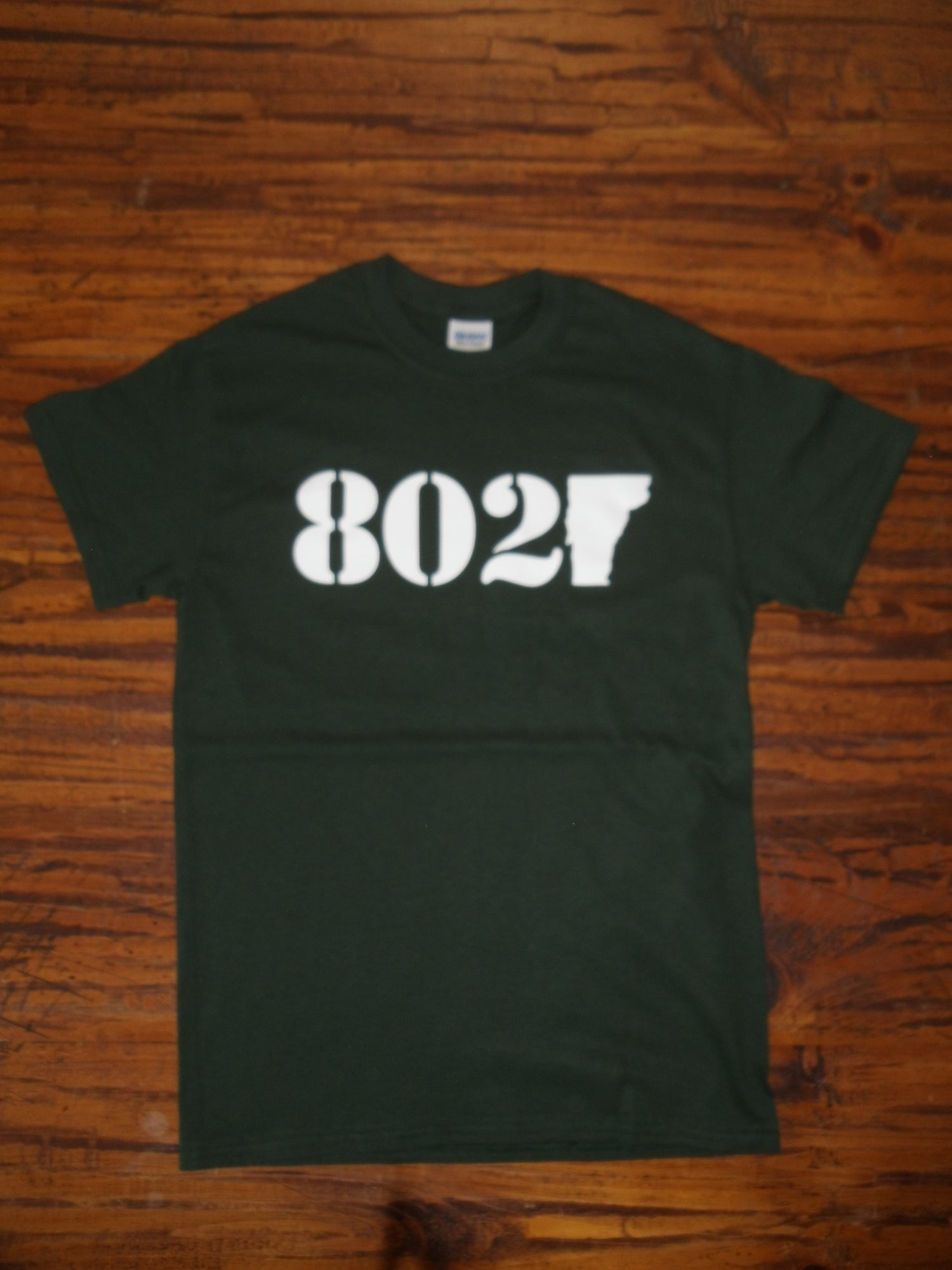 Image of 802 Vermont Classic T-Shirt - White on Forest Green - Toddler, Kids Youth & Adult (Men's & Women's)
