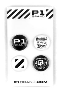 "Image of ""Mondays"" Button Set by Ornamental Conifer (P1B-A0544)"