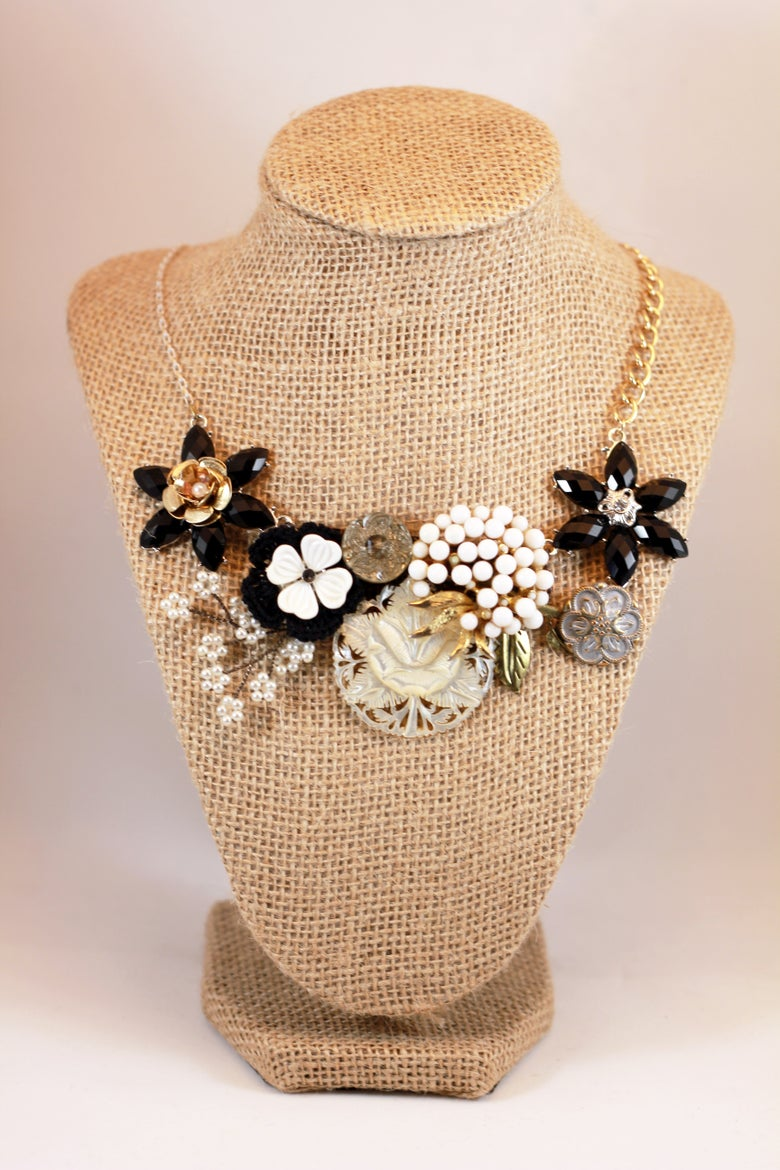 Image of Black and Silver Bloom Statement Necklace