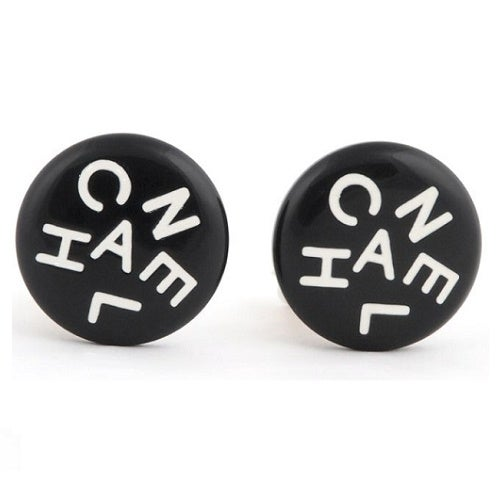 Image of SOLD OUT CHANEL AUTHENTIC BLACK VINTAGE LOGO EARRINGS - 1995
