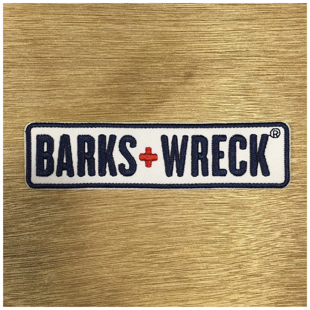 Image of Iron-On Patch:  BARKS+WRECK Wordmark