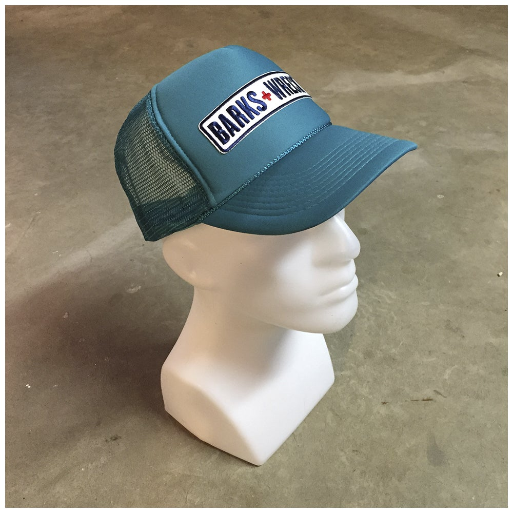 Image of Trucker Hat:  BARKS+WRECK Wordmark