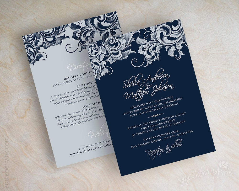 Royal Blue Wedding Invitation Cards: Jora Navy Silver Wedding Invitations / Appleberry Ink