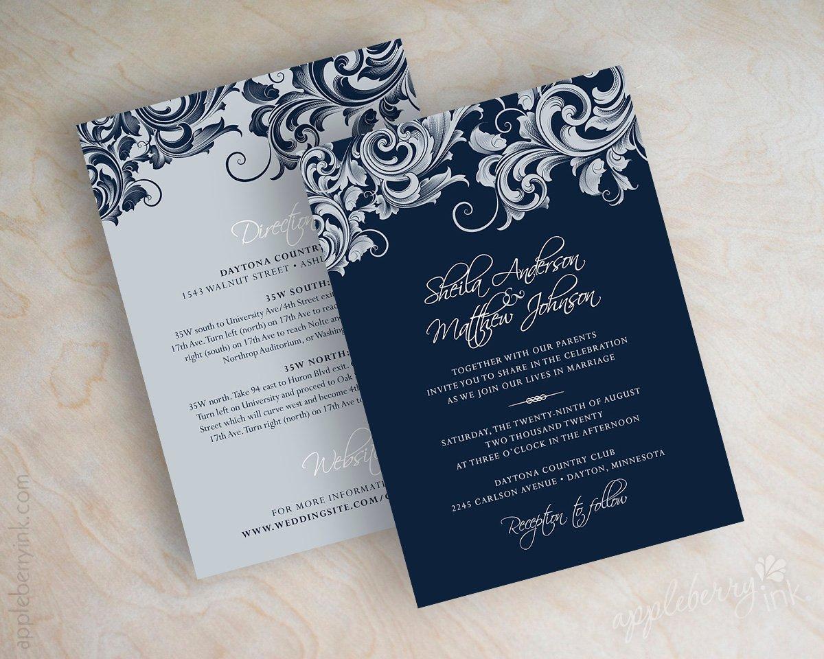 jora navy silver wedding invitations    appleberry ink