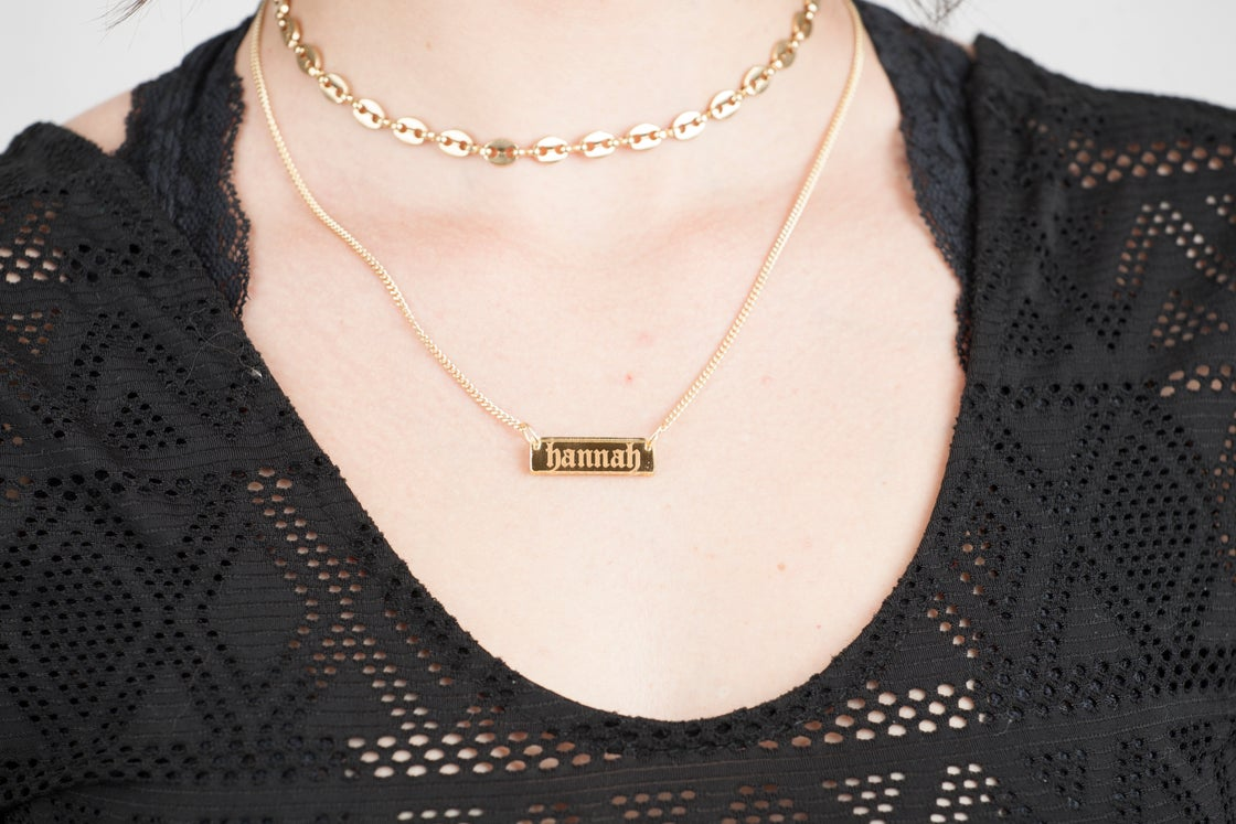 Image of Custom GOTHIC GOLD BAR Acrylic Necklace