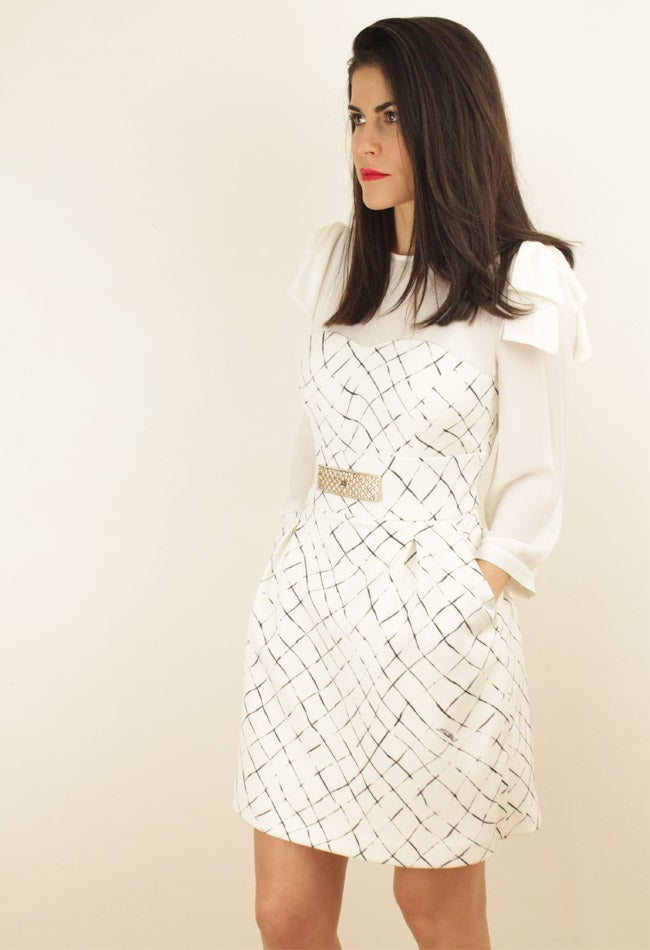 Image of BLACK AND WHITE CHECK PRINT DRESS
