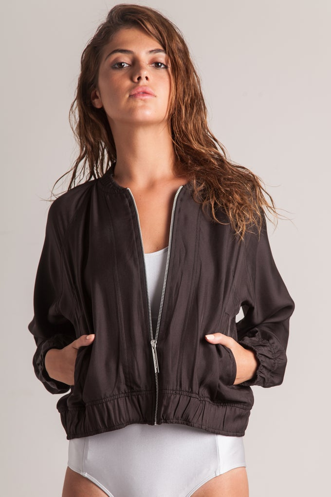 Image of BESSIE BOMBER JACKET - BLACK