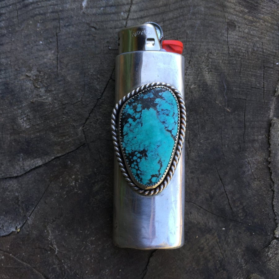 Image of TURQUOISE & SILVER FULL SIZE BIC LIGHTER SLEEVE