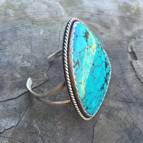 Image of X-LARGE TURQUOISE & SILVER CUFF BRACELET