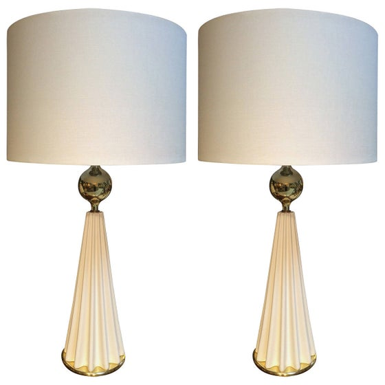 Image of Pair of Large Porcelain Lamps By Gerald Thurston