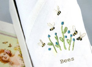 Image of Single lady's handkerchief: Bee & Blue flowers