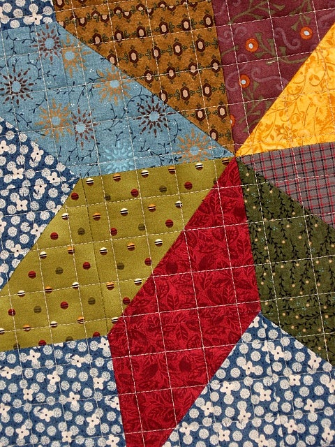 "Image of lap quilt, baby quilt - 49""x37"" - harlequin - modern quilt"