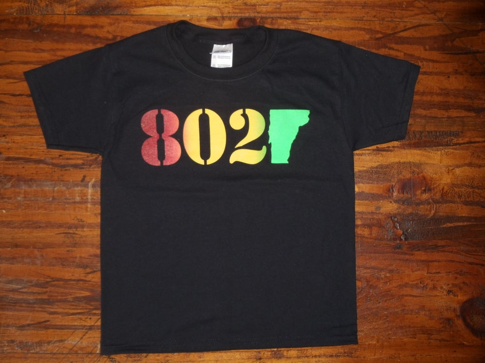 Image of 802 Classic Vermont T-Shirt - 802 on a Black Shirt - Toddler, Kids Youth & Adult (Men's & Women's)