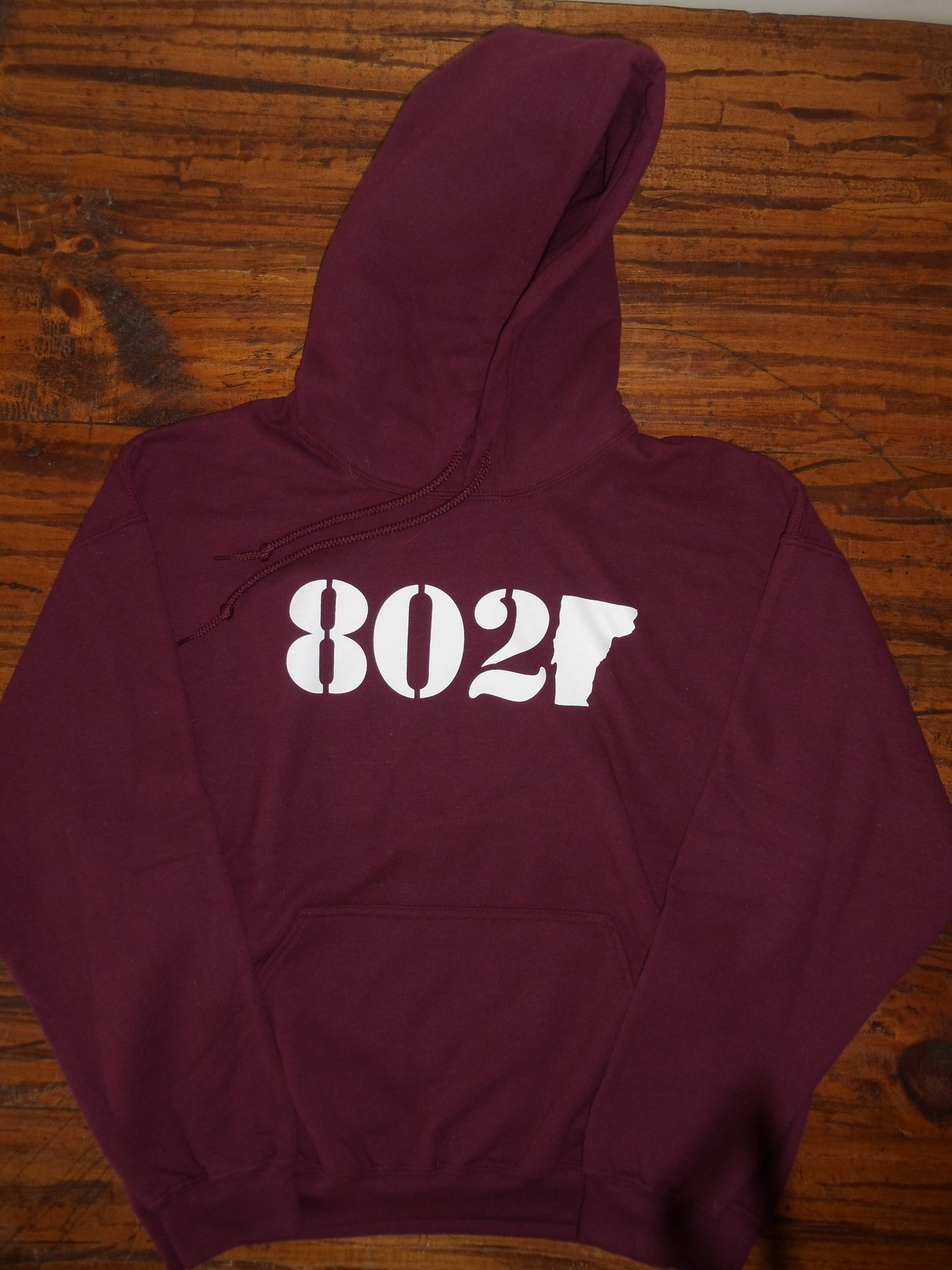 Image of 802 Classic Vermont Hooded Sweatshirt - 802 logo on Maroon Hoodie - Available in Kids & Adult Sizes