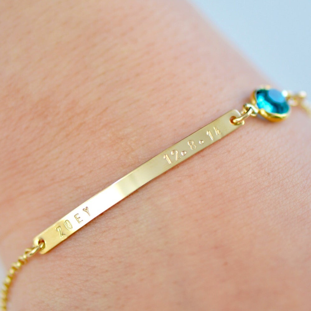 Image of Gold or Sterling Silver Bar with Swarovski Bracelet - Name Plate Bracelet